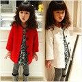 2016 Coreano Crianças Roupas Meninas Casaco Bebê Crianças Cor Sólida Longa Seção de Blusão de Lã Single-breasted Casaco de Manga Longa