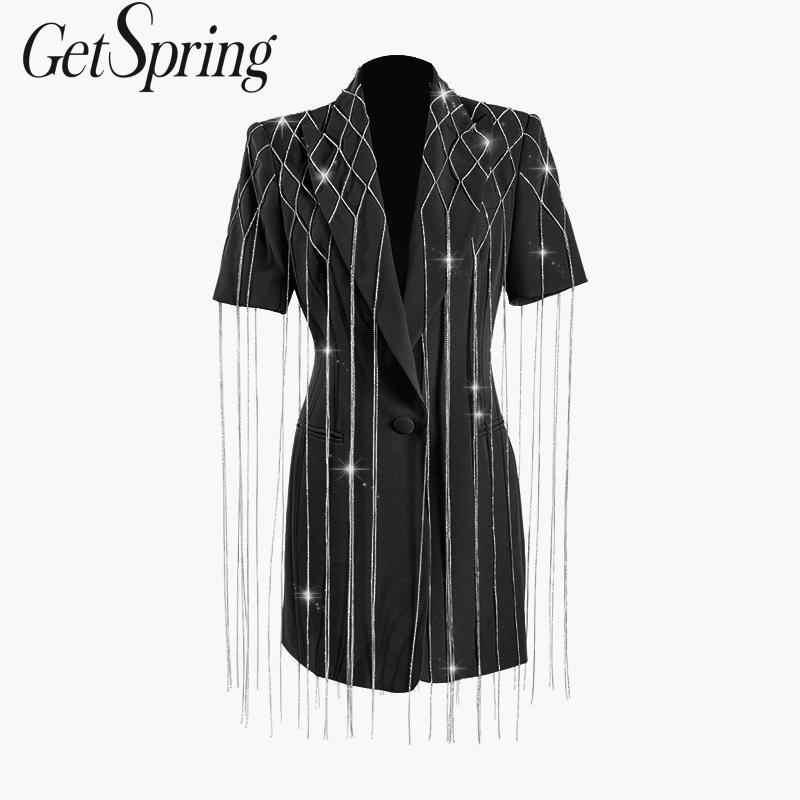 GETSRING kobiety marynarka wiosna kurtka kobiety długi garnitur Blazer diament łańcuch krótki rękaw długi żakiet z dzianiny dresowej moda płaszcz wierzchni nowy