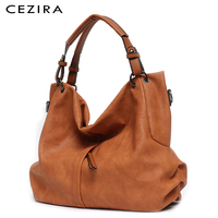 CEZIRA Brand Large Women's Leather Handbags High Quality Female Pu Hobos Shoulder Bags Solid Pocket Ladies Tote Messenger Bags