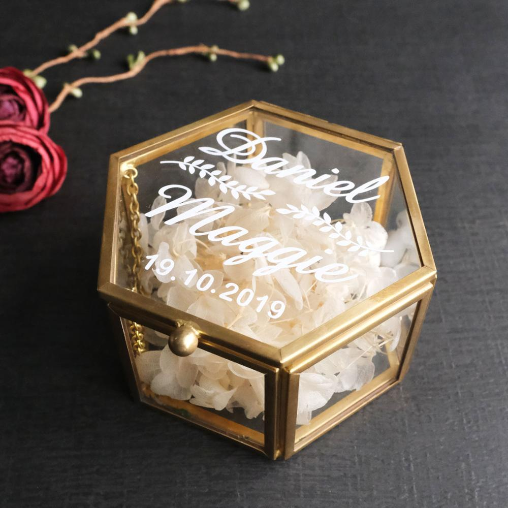 Customized Geometric Glass Ring Box,Rustic Ring Box,Personalized Wedding Ring Holder,Jewelry Box,Bridesmaid Gift,Birdal Shower