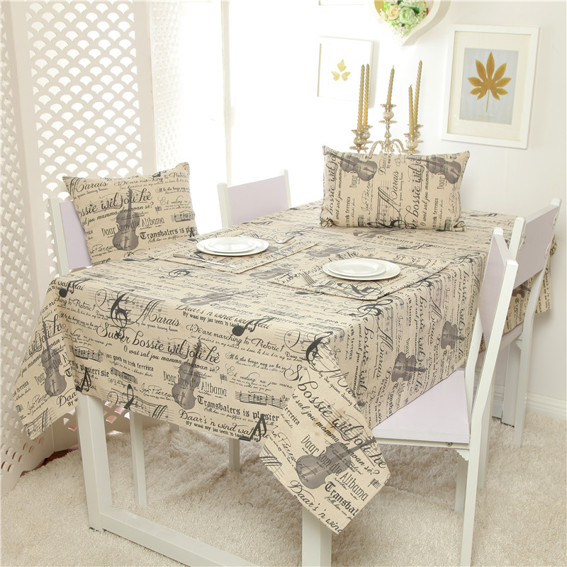 Linen table cloth europe style musical note high quality - Manteles para mesa ...