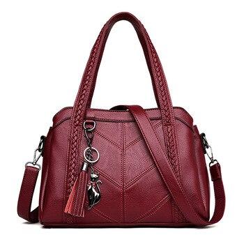 Women Handbag Genuine Leather Tote Bags Tassel Luxury Women Shoulder Bags Ladies Leather Handbags Women Fashion Bags 2018