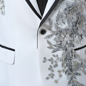 Image 2 - PYJTRL chaqueta con bordado de cristales 3D para hombre, chaqueta masculina de doble cara con bordado de cristales y flores para escenario y club nocturno