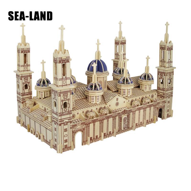 Un jouet pour enfants de Puzzle en bois 3d modèle pour enfants et adultes la basilique Pilar la célèbre série de construction un meilleur cadeau pour les enfants - 3