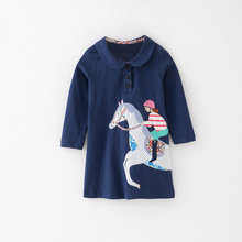 цена Little maven kids girls fashion brand autumn baby girl clothes animal applique dress Cotton navy blue toddler girl dresses S0534