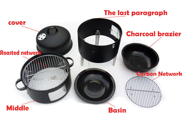 Nieuw! 17 inch Eenvoudige Montage BBQ grill Security Barbecue Dampen Oven Staal Roker Barbecue Grilll met ingebouwde Thermometer-in BBQ Roosters van Huis & Tuin op  Groep 2