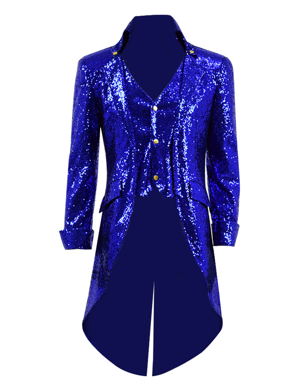SteamPunk Sequin Tailcoat Bling Stage Coat Fake two pieces Men's Jacket Cosplay Tailcoat for Show Halloween Party