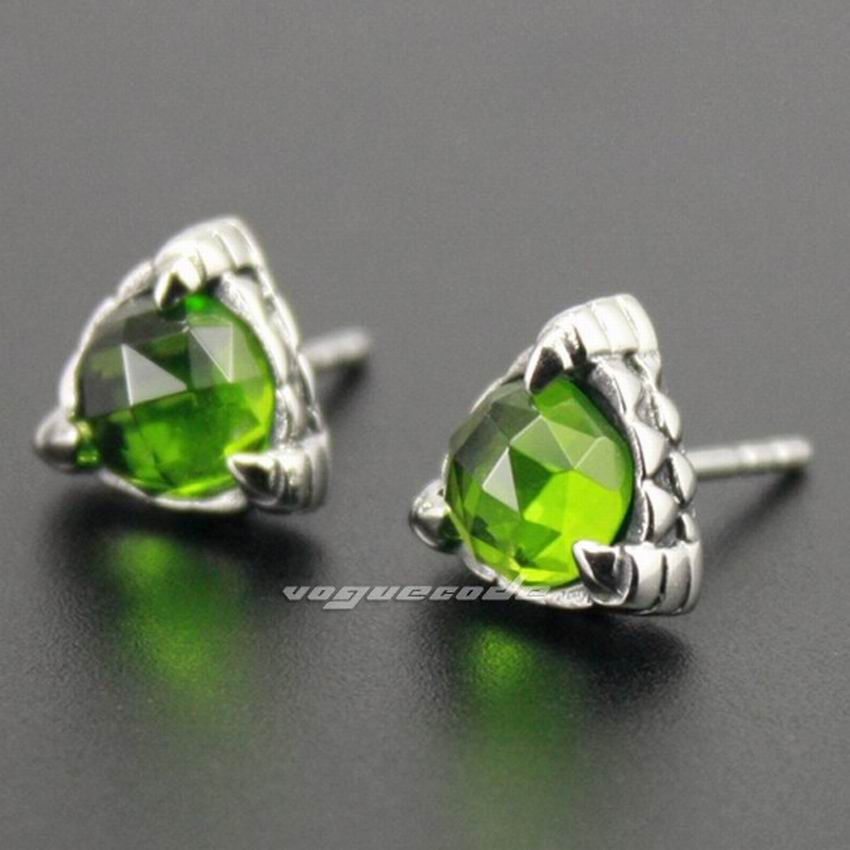316L Stainless Steel Olive Green CZ Stone Cool Claw Mens Stud Earrings 3L002(2 Pieces)