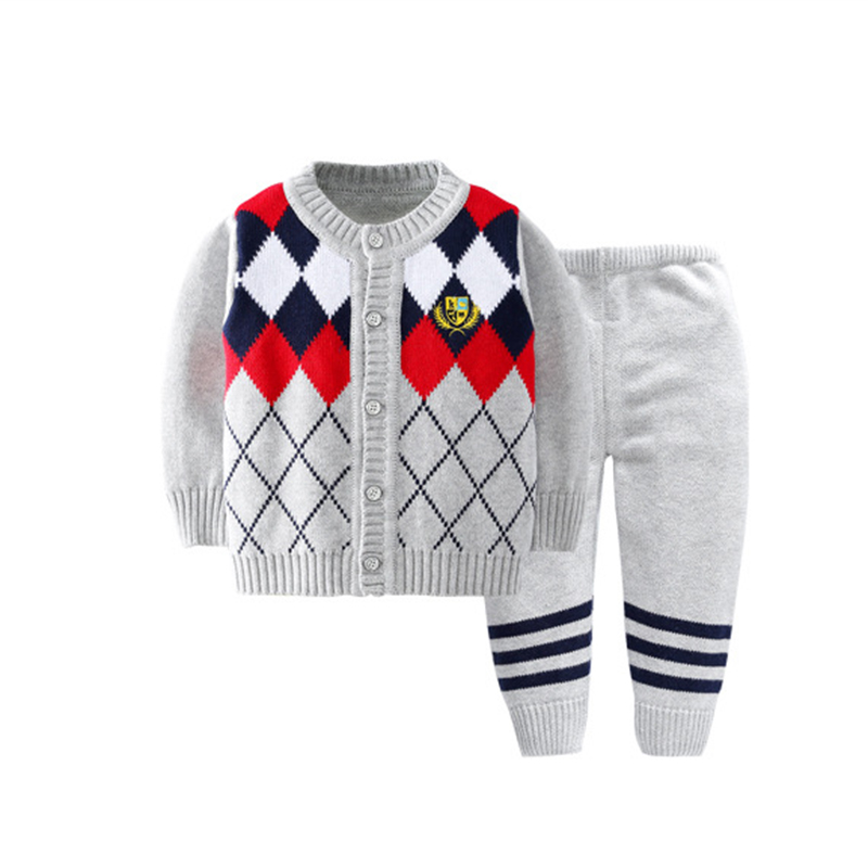 2PCS Baby Cardigan Set Plaid Sweater Pants Suits Knitting Boys Sweater Warm Autumn Winter Boys Suits Fashion Baby Boys Clothing sirdar snuggly double knitting baby cardigan pattern