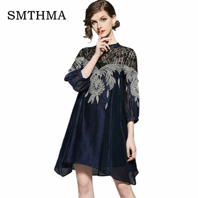 77c9e8539ef6 SMTHMA HIGH QUALITY Newest 2019 Designer Runway Summer Dress Women s Lace  Patchwok Embroidery Dress