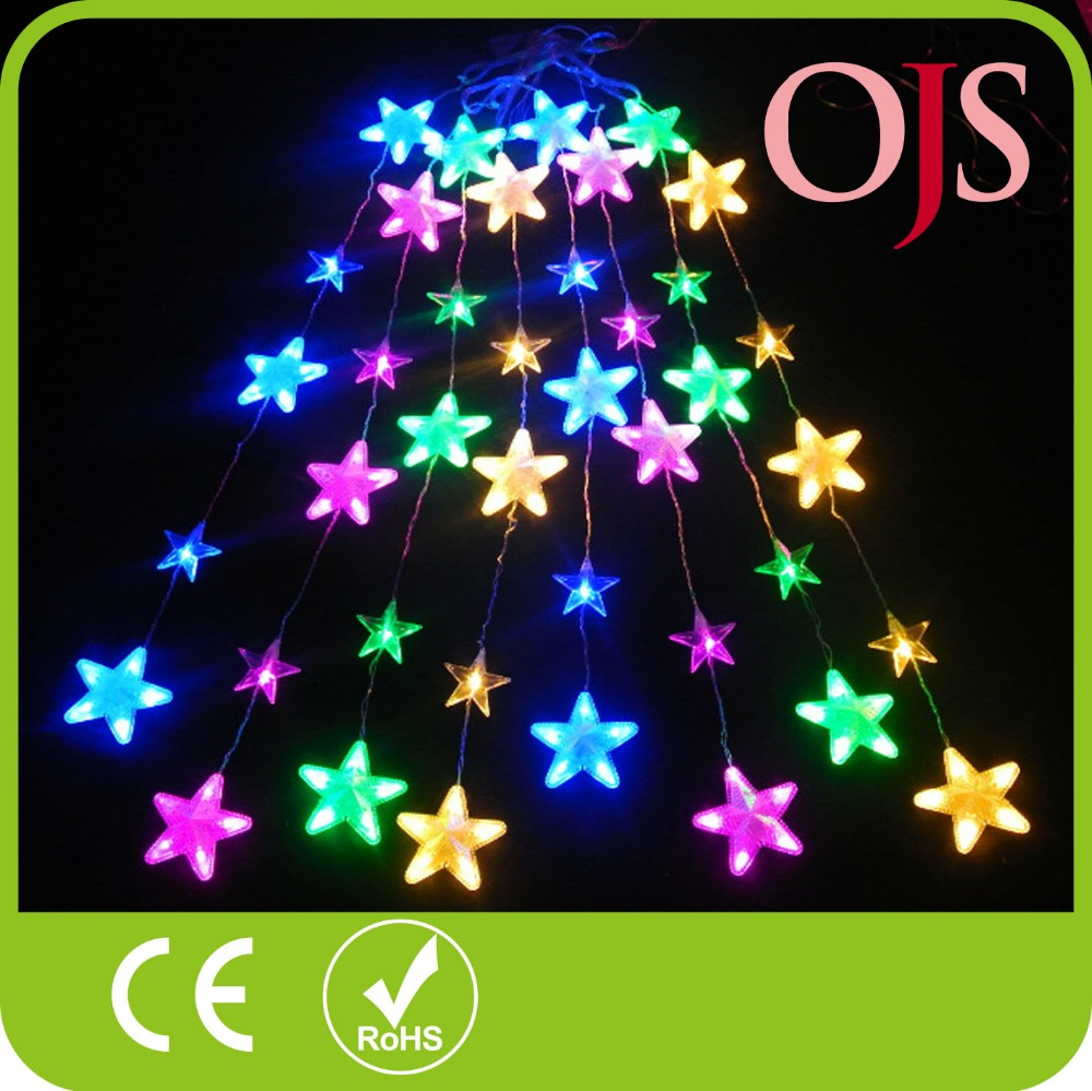 Free Shipping 8 Mode Star LED String Fairy Light Curtain Shape Wedding  Christmas Xmas Party Decoration Holiday Lights
