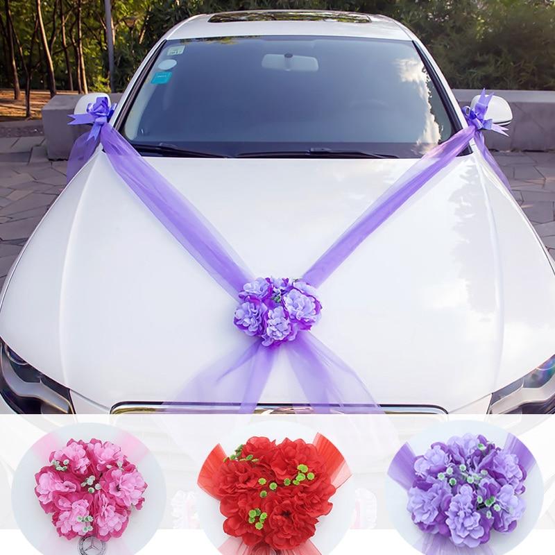 Wedding float decoration artificial flower car wedding supplies romantic wreath gauze DIY ribbon