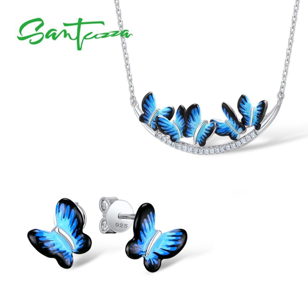 Santuzza Jewelry Set HANDMADE Enamel Butterfly CZ Stones Ring Earrings Pendent Necklace 925 Sterling Silver Women