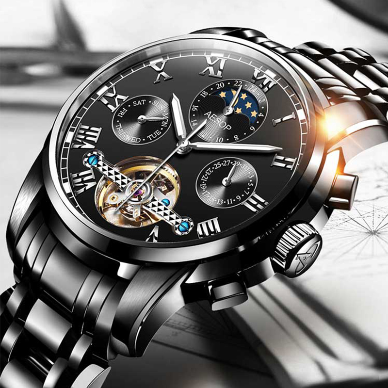 AESOP Automatic Mechanical Watch Men Luxury Men's Wrist Watches Wristwatch Waterproof Skeleton Male Clock Men Relogio Masculino - 3