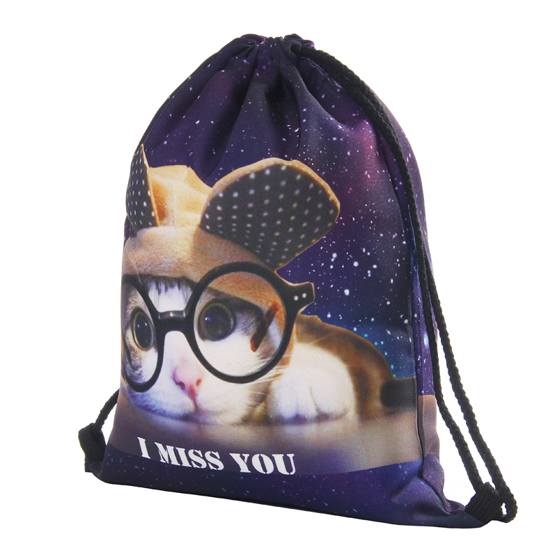 Luggage & Bags ... Drawstring Bags ... 32764544794 ... 3 ... Glasses cat 3D printing Women Classic forever  brand mochila escolar man  bags Travel mochilas backpack drawstring bag ...