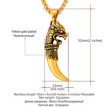 Dragon Teeth Necklace Men Chain Retro Punk Jewelry Trendy Gold Color Stainless Steel Charm Necklace & Pendant Wholesale P845