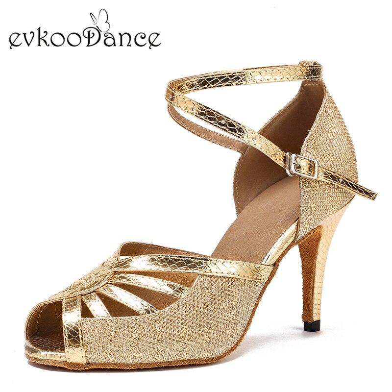 Zapatos De Baile Ouro Prata E Altura do Salto Preto 8.5 cm Tamanho EUA 4-12 Profissionais Sapatos de Dança Latina Para As Mulheres NL126