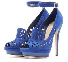 Royal Blue Ankle Strap Shoes Women Peep Toe Ladies Pumps Platform Stilettos High Heels Hollow Out Plus Size 13 Shoes 2016