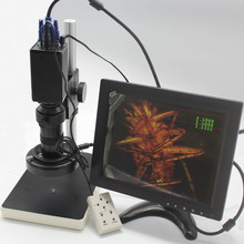 VGA Microscope Camera With Remote Control Switch Measurement X/Y Cross-Line Detection+130X Optical C-Mount Lens+Holder+LED