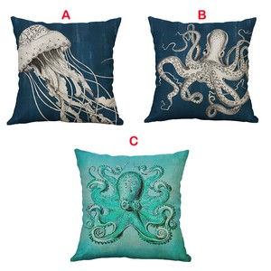 Image 4 - Marine Life Coral Sea Turtle Seahorse Whale Octopus Cushion Cover Pillow Covers Linen Throw Pillow Home Decoration 60x60cm