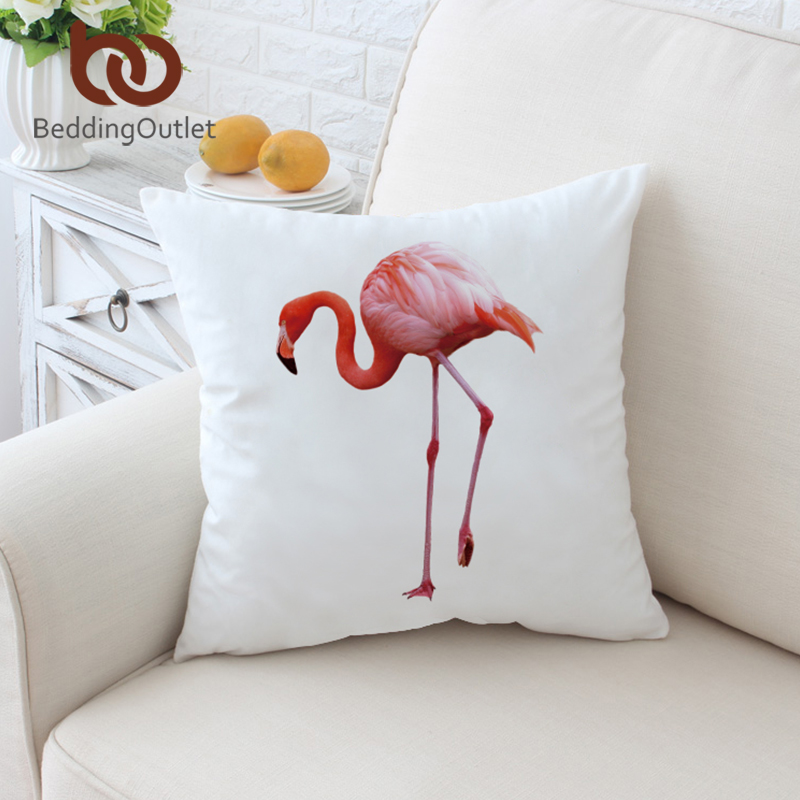 BeddingOutlet Pink Flamingo on White Cushion Cover Simple Adorable Bird Pattern Pillow Case Microfiber Soft 45cmx45cm 70cmx70cm
