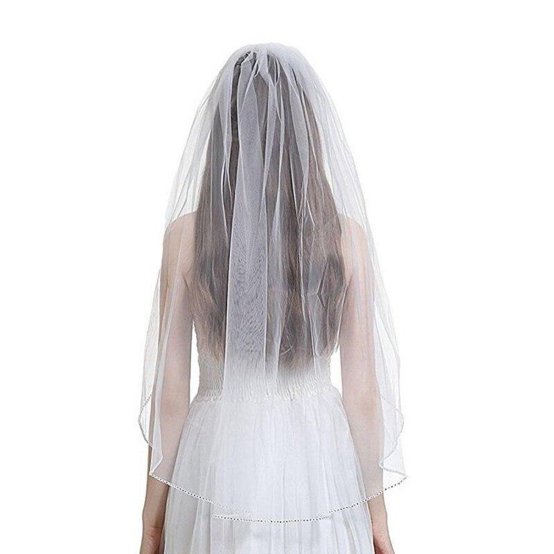 Купить с кэшбэком 2020 Elegant Short Woman Wedding Veils One layer 75 CM With Comb white Ivory Veil for Bridal Beaded Edge Tulle Wedding Veil