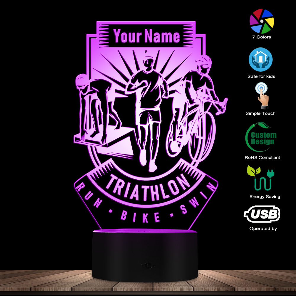 Triathlon 3D LED Lamp With Personalised Name Swim Bike Run Decorative Night Light Home Lighting Decor Custom Gift For Triathlete