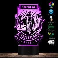 Triathlon 3d conduziu a lâmpada com nome personalizado swim bike run luz noturna decorativa decoração de iluminação para casa presente personalizado para triathlete|Iluminação Novelty| |  -