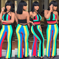 2017 Sexy Rainbow Stripes Condole Belt Vest Pants Two Piece Outfit