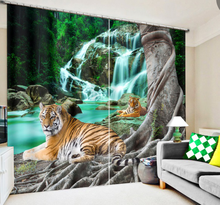 Tigers Animals Luxury 3D Blackout Curtains For Living room Bedding room Drapes Cotinas para sala for Chirstmas decorative