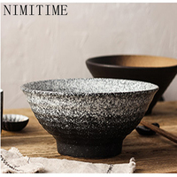 NIMITIME Japanese Hanfeng Creative Hand Ceramic Restaurant Home Soup Bowl Big Bowl