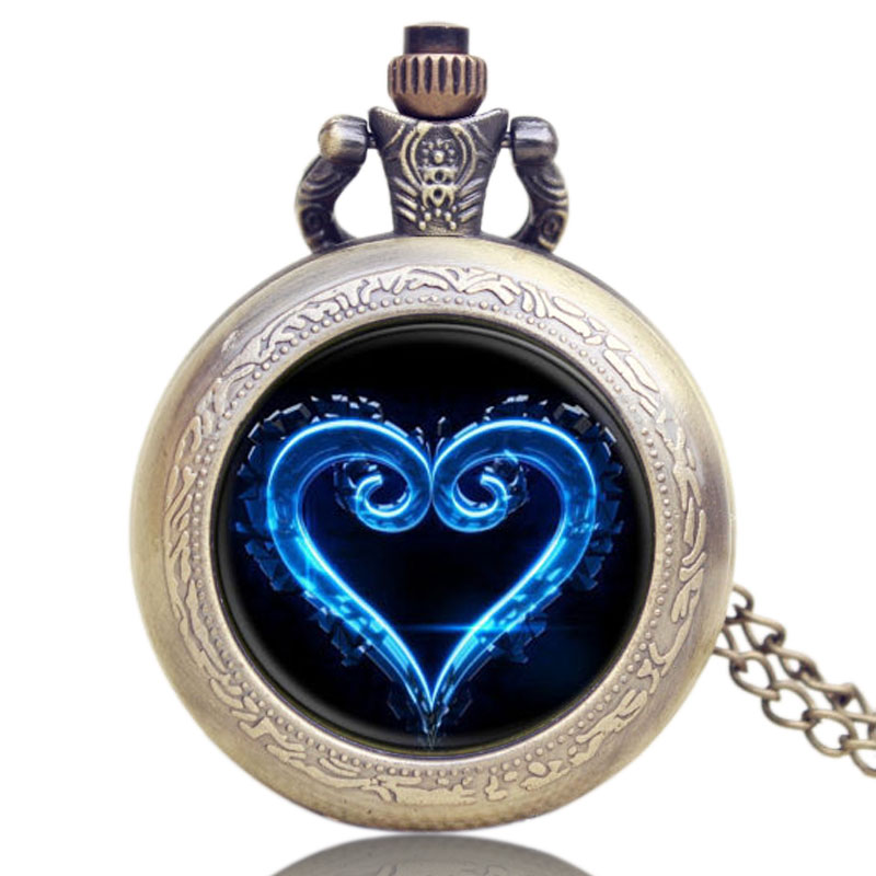 New Pocket Watch Kingdom Heart Design High Grade Chain Necklace Women Lover Gift P1124