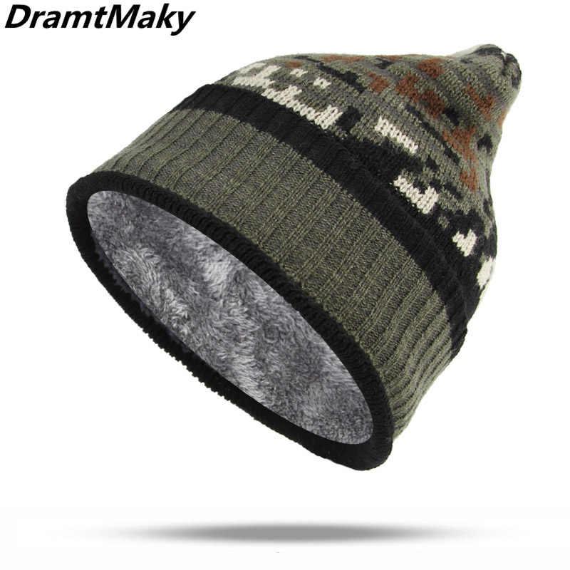 b2e3d57ac28 Detail Feedback Questions about New Camouflage Pattern Men s Winter Hat  Male Knitted Camo Winter Beanie Women Men Skullies Beanies Cotton Fleece  Lining army ...