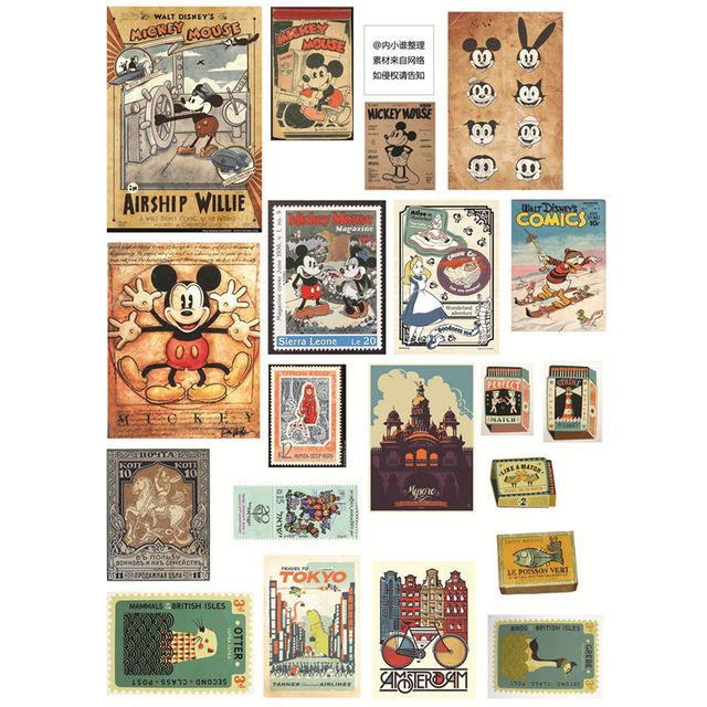 2 unids/lote Vintage Mickey etiqueta decoración Mohamm planificador DIY pegatina Pack Post It cuaderno bala diario pegatinas Scrapbooking