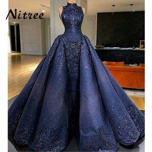 Image 2 - African Royal Blue Mermaid Evening Dresses Dubai Turkish Arabic Aibye Bling Unique Sequins Dress Prom Gowns Abendkleider Kaftan