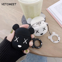 VETOMEET Cute violence bear Pattern Bluetooth Wireless Earphone Case For Airpods Silicone Hook design case For Apple AirPods Box