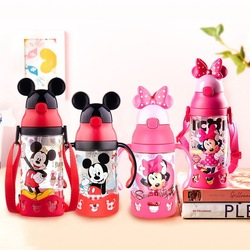 Disney minnie mickey mouse copos dos desenhos animados plástico sólido estudante de alimentação conveniente ao ar livre criança esportes garrafa com palha 520 ml
