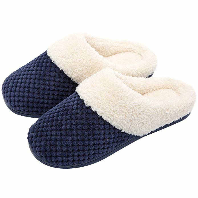 074dd8932a99b Men Women Comfort Coral Fleece Memory Foam Slippers Plush Lining Slip-on Clog  House Shoes