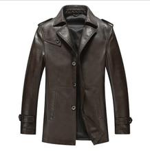 NEW 2016 Men Long New Leather Jacket Jaquetas Couro Men Leather Jacket Genuine Leather Jacket Men Male Winter Jacket Coat
