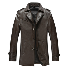 NEW 2016 Males Lengthy New Leather-based Jacket Jaquetas Couro Males Leather-based Jacket Real Leather-based Jacket Males Male Winter Jacket Coat