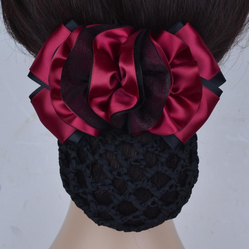 I-Remiel Fashion Professional Bun Net Snood Head Flower Korean Jewelry Hairpin Hotel Bank Nurse Bow Hair Accessories For Women