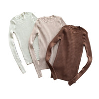 Women Basic Tops Long Sleeve Knitwear Rib Pullovers XR C1812