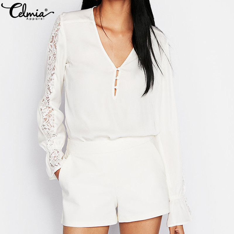 Celmia Sexy Blusas Women Stitching Lace Blouses White Shirts 2018 Autumn Buttons Casual Loose V-Neck Long Sleeve Tops Plus Size