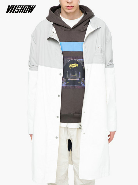 VIISHOW Trench Long Coat Men Brand Men's Coat Patchwork Abrigo Hombre 2019 New Long Men's Jackets Gabardina Hombre FC2112183