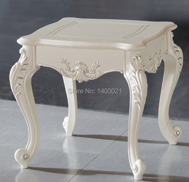 Hot Sale Cream Color White Coffee Table,carving Small Side Table,wooden Tea  Table Design