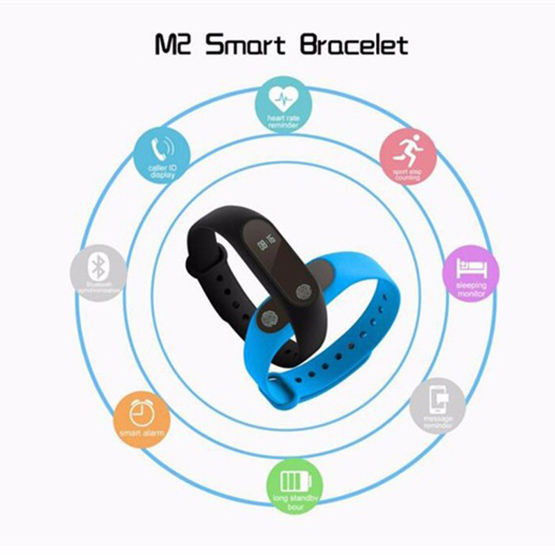 M2 Smart Wristband Bluetooth Synchronous Motion Meter Step Sleep Monitoring Call Reminder Bracelet Watch
