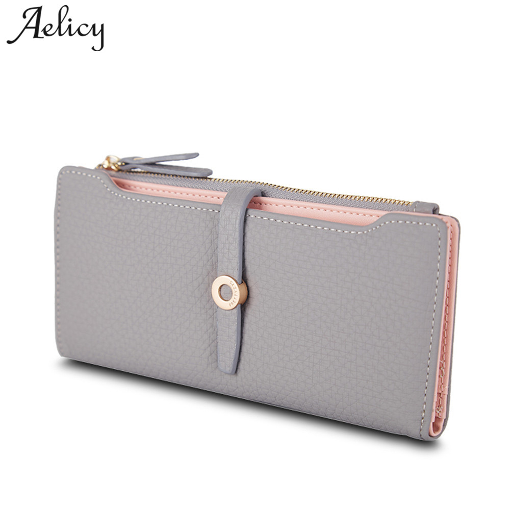 Aelicy Top Quality Latest Lovely Leather Long Women Wallet Fashion Girls Change Clasp Purse Money Coin Card Holders carteras  2017 hot sale lovely leather long women wallet fashion girls change clasp purse money coin card holders wallets carteras