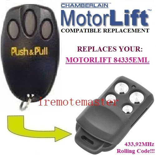 new Motorlift replacement remote <font><b>84335EML</b></font> 433,92mhz Rolling code +1pcs Wall Mount image