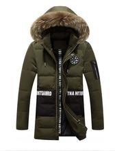2016 мужская зимняя хлопок Корейской выращивания в долгосрочной капюшоном мех цвет большой теплую куртку пальто