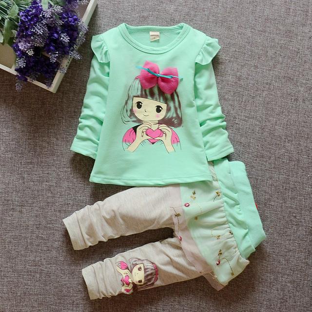 Juego de los niños ropa determinada de las muchachas 2017 niños del resorte nuevos de manga larga t-shirt + Pants 2 unids conjunto de juegos de los niños